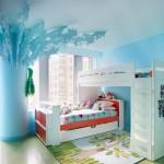 Голубой интерьер комнаты для девочки подростка 13 лет