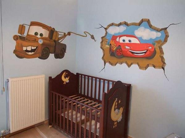 Интересный дизайн обоев для детской комнаты для мальчика.