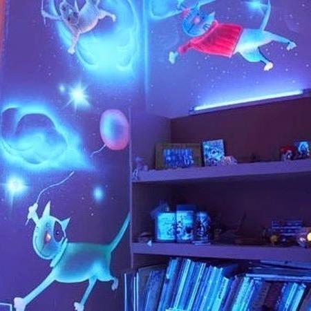 Светящиеся обои в детскую комнату для мальчиков.