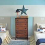 Синий дизайн детской комнаты для двоих детей