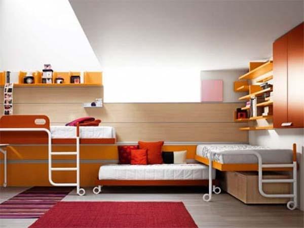 дизайн узкой детской комнаты для двоих детей