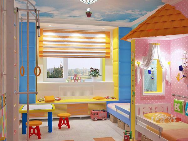 Красивый интерьер детской комнаты для разнополых детей