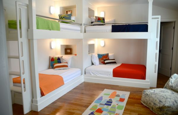 интерьер детской комнаты для 4 разнополых детей