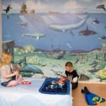интерьер детской комнаты для разнополых детей, подводный мир