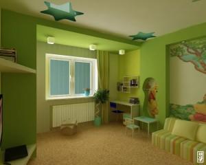 Детская мебель белая в зелёном интерьере
