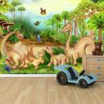 3d обои на стену с динозаврами
