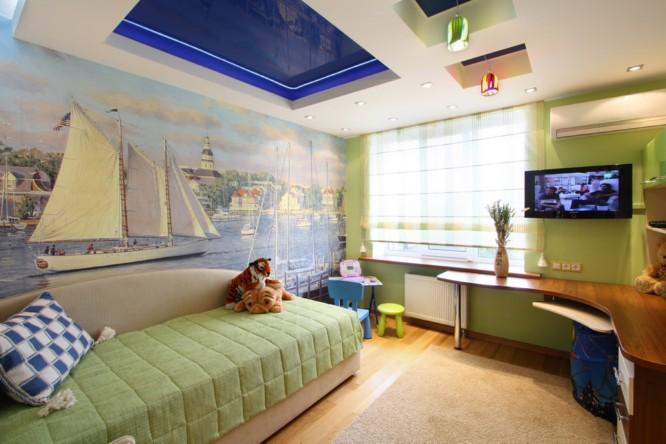 Натяжные потолки в детскую комнату для девочки с зонирование