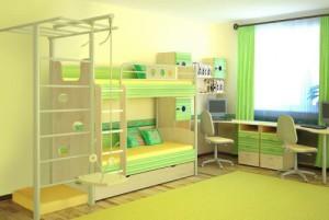 Детская шведская стенка с креплением к стене зелёного цвета