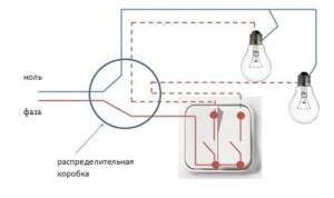 Схема подключения двухклавишного выключателя на две лампочки в евроремонте.
