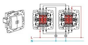 Схема подключения двухклавишного выключателя на две лампочки в санузле.
