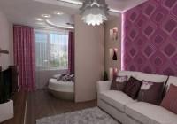 Бардовый интерьер и зонирование комнаты на детскую и гостиную