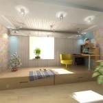 Детская комната с подиумом и выдвижными кроватями пик совершенства