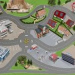 Детский ковер для мальчика с дорогами и зданиями