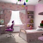 Габаритная планировка детской комнаты для девочки