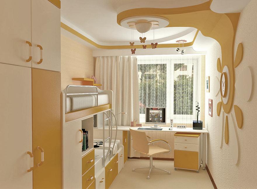 Дизайн детской комнаты 9 кв.м. для девочки