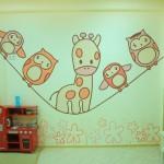 Красивая роспись стен в детской комнате своими руками