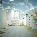 Натяжной потолок в детской комнате фото вариантов