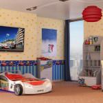Обои для детской комнаты разнополых детей разделенные по зонам