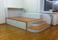 Разборная детская комната с подиумом и выдвижными кроватями