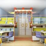 Яркая планировка детской комнаты для девочки