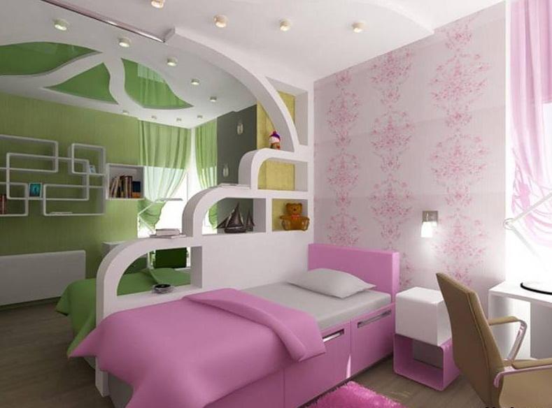Зонирование детской комнаты для девочки в пурпурных оттенках