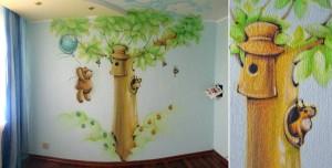 сказочная роспись стен в детской комнате своими руками