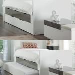 Белая выдвижная двуспальная кровать из подиума