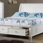 Белые односпальные кровати с ящиками для белья