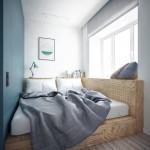Подиум в квартире с выдвижной кроватью небольшого размера