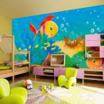 Ремонт в детской фото ярких фотообоев на стене