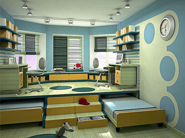 Яркая и уютная детская с подиумом и выдвижными кроватями