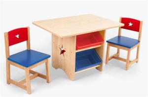 деревянный детский стол и стул
