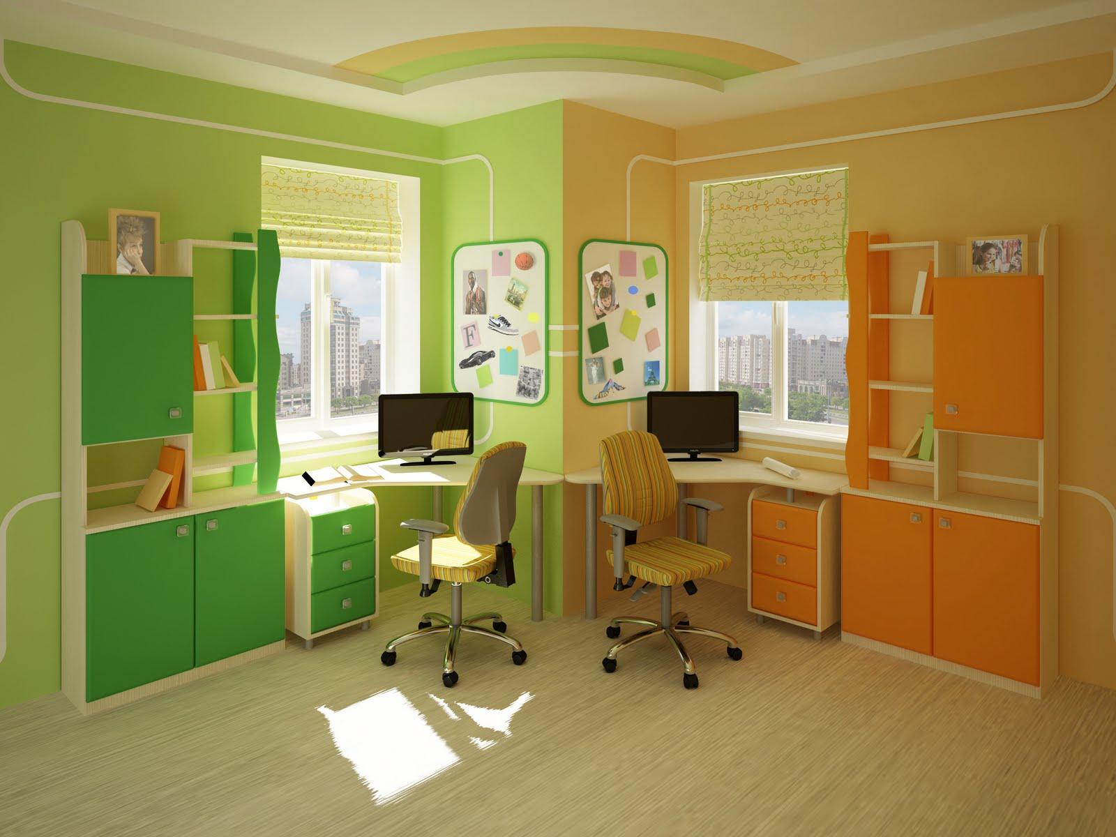 Дизайн письменного стола для школьника у окна