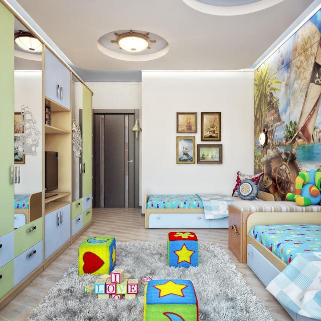 детские комнаты для 2 мальчиков дизайн фото