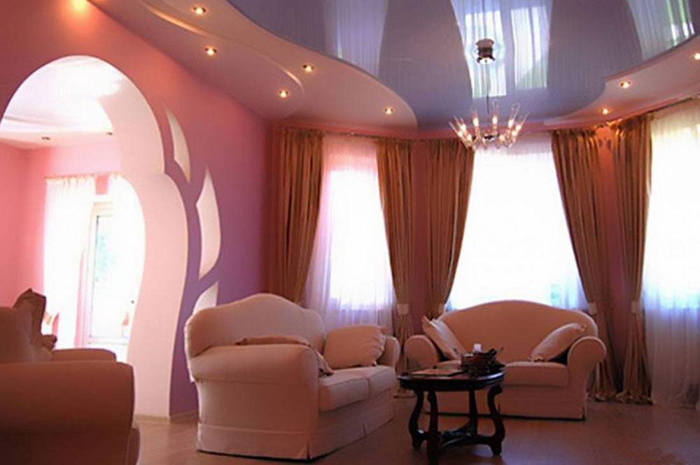 Дизайн натяжных потолков одноуровневые в зале