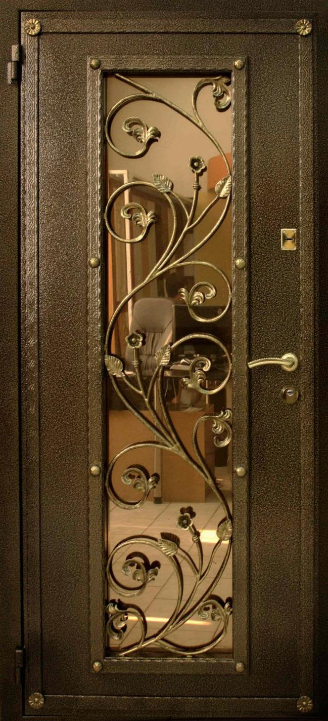 металлические двери со стеклопакетам с ковкой