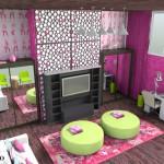 Цветной интерьер для маленькой комнаты подростка девочки