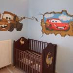 Интересный дизайн обоев для комнаты мальчиков.