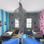 Яркий дизайн детской комнаты для разнополых детей