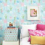 Синие обои для комнаты девочек