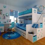 Синий дизайн детской комнаты для двух девочек фото
