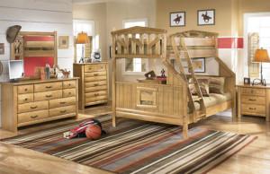 Двухъярусная детская деревянная мебель