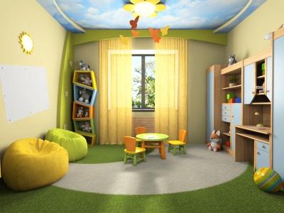 Натяжные потолки в детскую комнату для девочки в виде неба