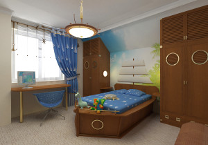 Детская мебель в морском стиле и обои