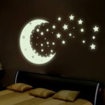 темные 3d обои на стену с рисунком звезд