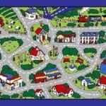 Детский ковер для мальчика с дорогами и населенным пунктом