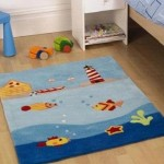 Детский ковер для мальчика в морском стиле с красочными рисунками