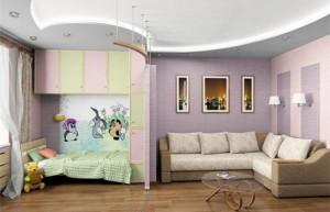 Дизайнерское решение и удобное зонирование комнаты на детскую и гостиную