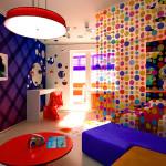 Контрастное зонирование детской комнаты для девочки