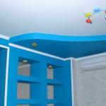 Нежный потолок из гипсокартона в детскую комнату фото